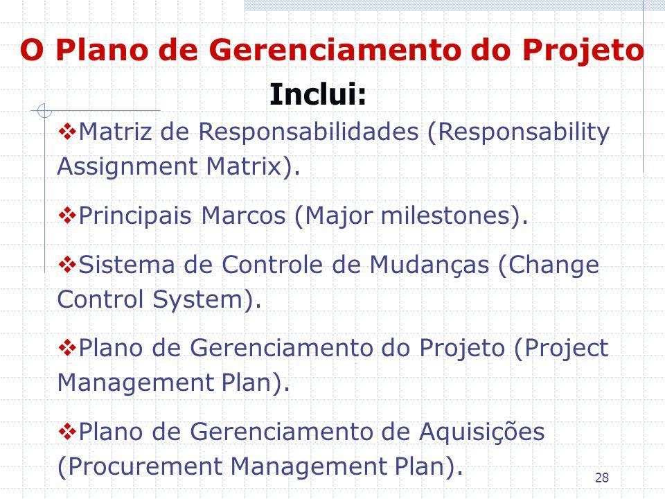 28 O Plano de Gerenciamento do Projeto Matriz de Responsabilidades (Responsability Assignment Matrix). Principais Marcos (Major milestones). Sistema d