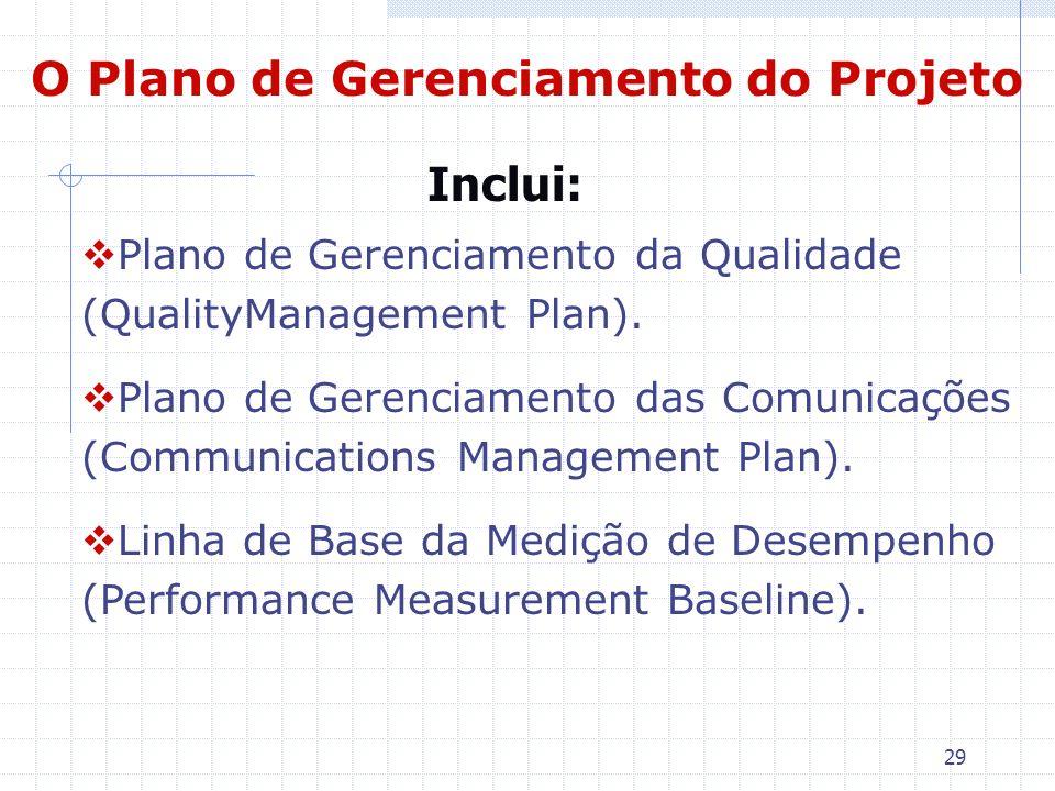 29 O Plano de Gerenciamento do Projeto Plano de Gerenciamento da Qualidade (QualityManagement Plan). Plano de Gerenciamento das Comunicações (Communic
