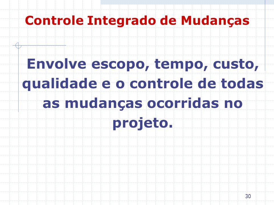 30 Controle Integrado de Mudanças Envolve escopo, tempo, custo, qualidade e o controle de todas as mudanças ocorridas no projeto.