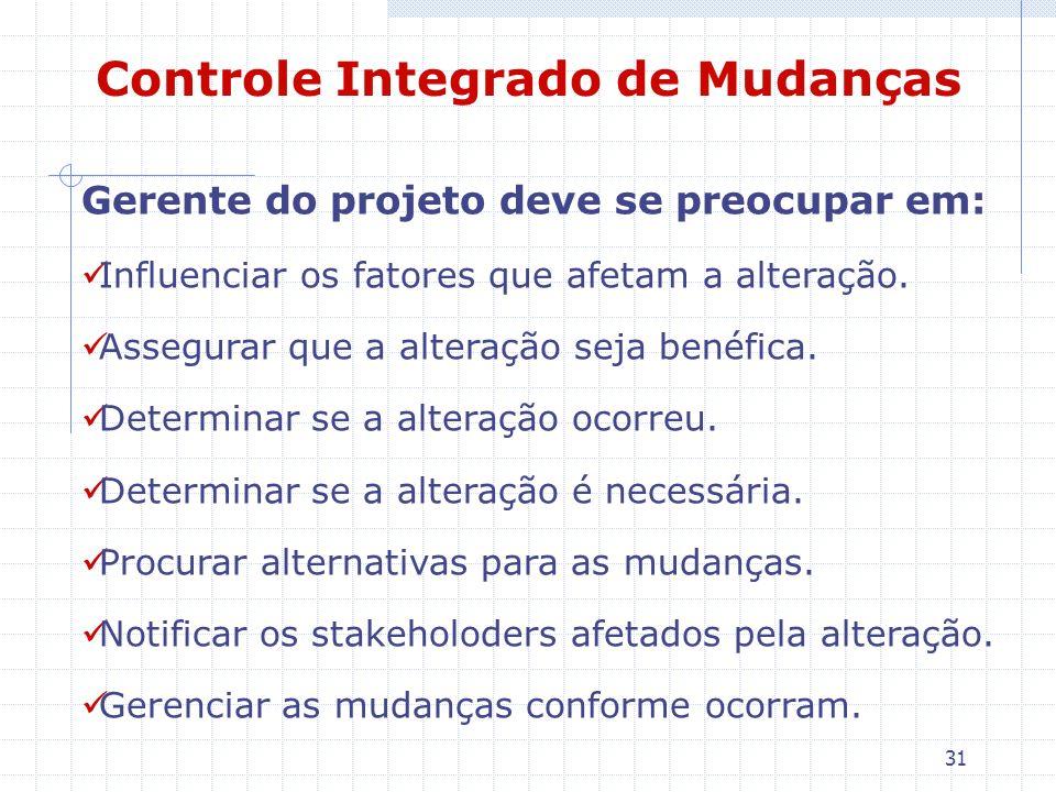 31 Controle Integrado de Mudanças Gerente do projeto deve se preocupar em: Influenciar os fatores que afetam a alteração. Assegurar que a alteração se