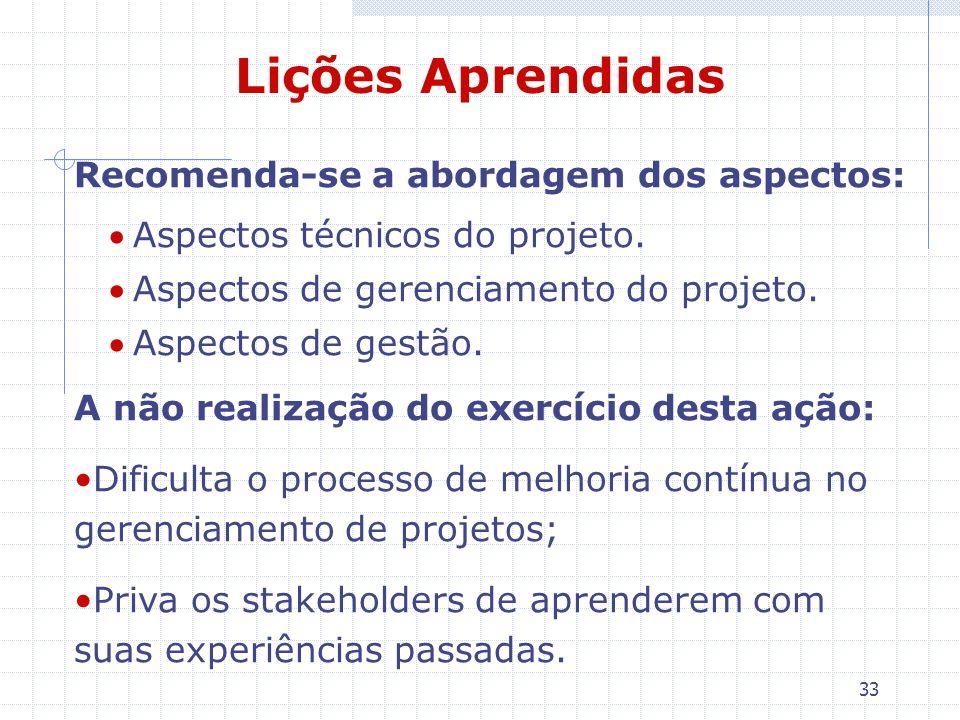 33 Lições Aprendidas Recomenda-se a abordagem dos aspectos: Aspectos técnicos do projeto. Aspectos de gerenciamento do projeto. Aspectos de gestão. A