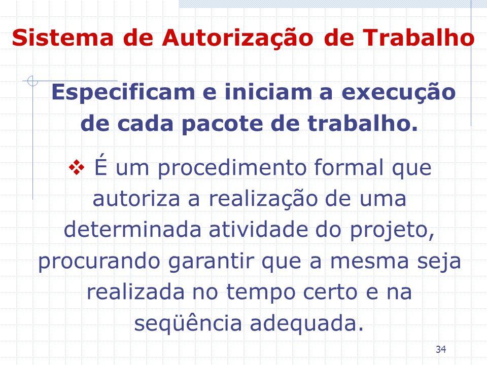 34 Sistema de Autorização de Trabalho Especificam e iniciam a execução de cada pacote de trabalho. É um procedimento formal que autoriza a realização