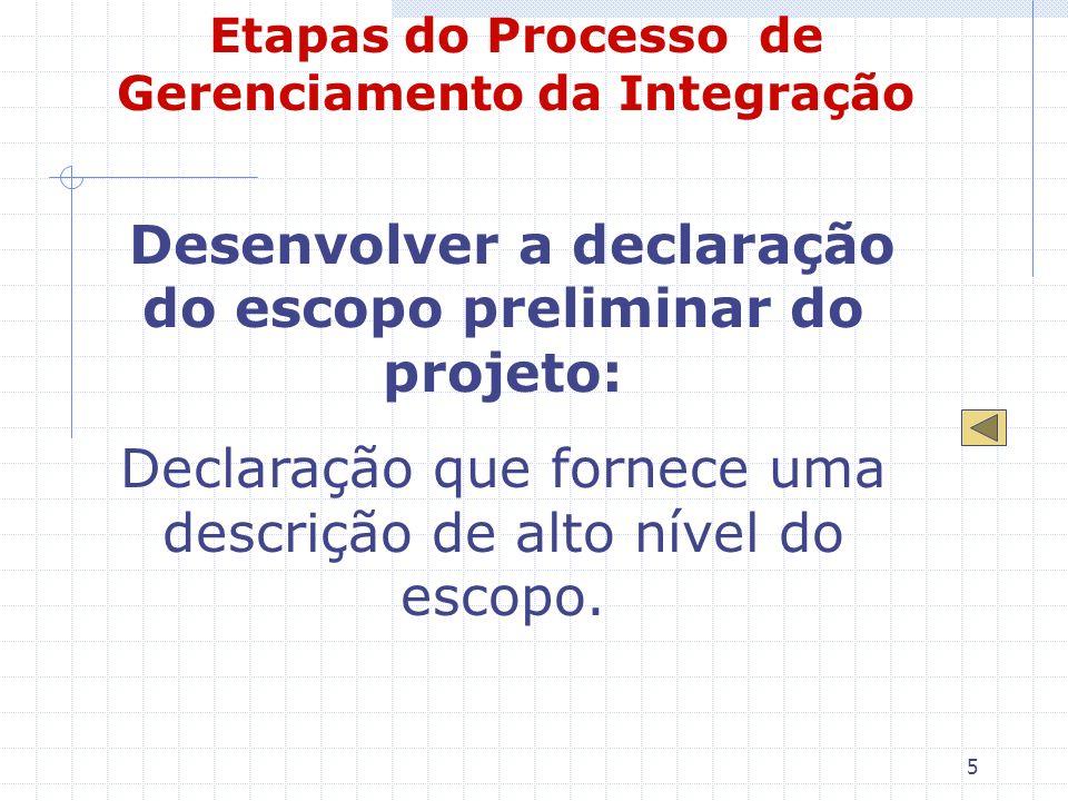 5 Etapas do Processo de Gerenciamento da Integração Desenvolver a declaração do escopo preliminar do projeto: Declaração que fornece uma descrição de