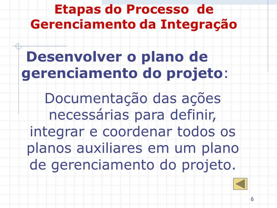 6 Etapas do Processo de Gerenciamento da Integração Desenvolver o plano de gerenciamento do projeto: Documentação das ações necessárias para definir,