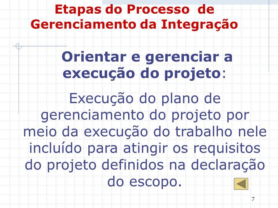 7 Etapas do Processo de Gerenciamento da Integração Orientar e gerenciar a execução do projeto: Execução do plano de gerenciamento do projeto por meio