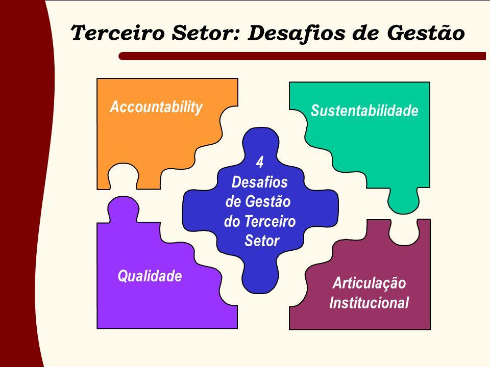 Accountability Sustentabilidade 4 Desafios de Gestão do Terceiro Setor Articulação Institucional Qualidade Terceiro Setor: Desafios de Gestão