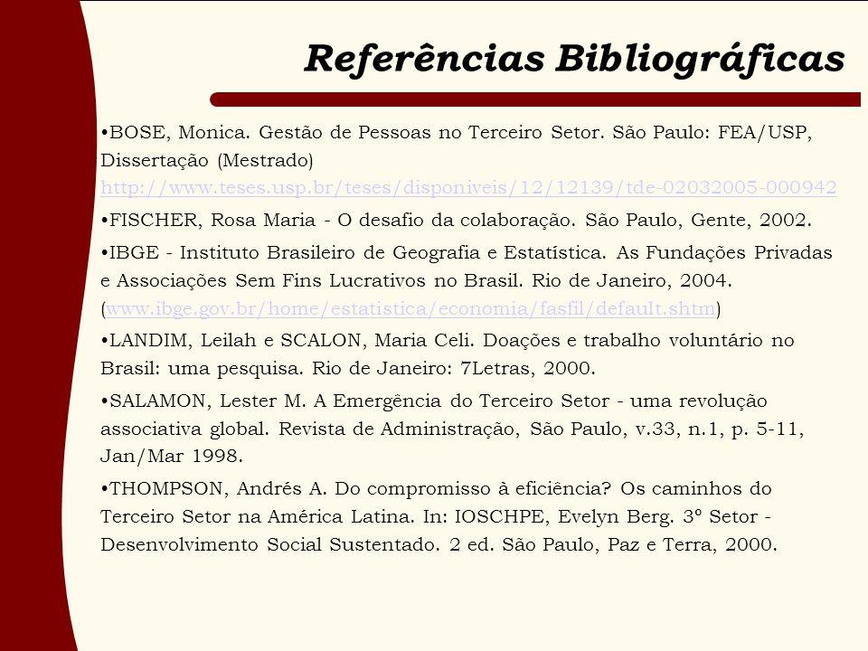 Referências Bibliográficas BOSE, Monica. Gestão de Pessoas no Terceiro Setor. São Paulo: FEA/USP, Dissertação (Mestrado) http://www.teses.usp.br/teses