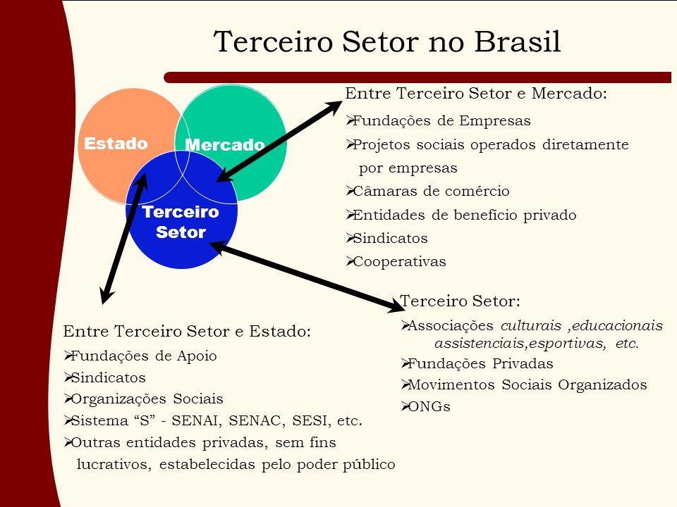 Terceiro Setor no Brasil Mercado Terceiro Setor Estado Entre Terceiro Setor e Mercado: Fundações de Empresas Projetos sociais operados diretamente por