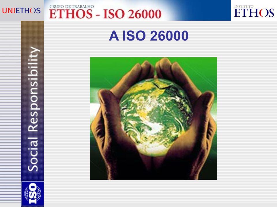 Sediada em Genebra, presente em 153 países, representada por órgãos de normalização nacionais; No Brasil, é representada pela ABNT; Os padrões ISO 9000 e ISO 14000 já foram adotados por cerca de 634 mil organizações (www.iso.org); A ISO possui uma parceria estratégica com a OMC.