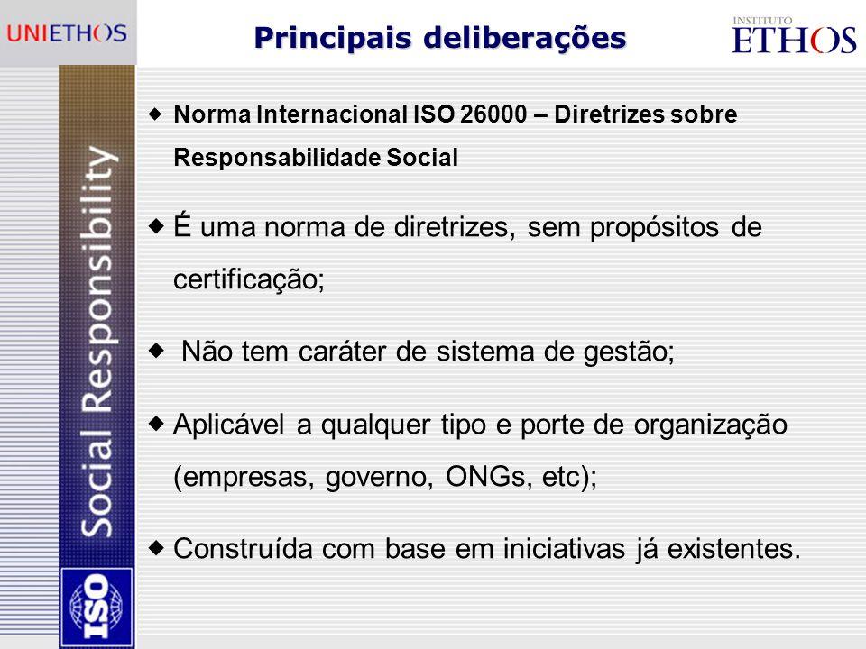 O processo de construção da ISO 26000 Decisão histórica: liderança compartilhada entre país desenvolvido e em desenvolvimento - Brasil e Suécia.