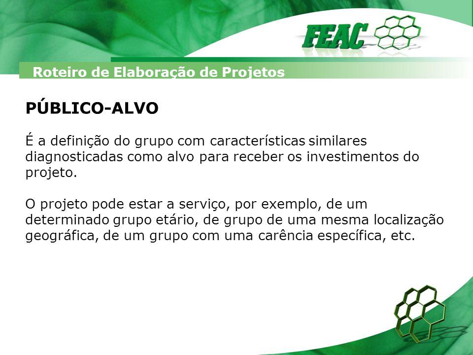 Roteiro de Elaboração de Projetos PÚBLICO-ALVO É a definição do grupo com características similares diagnosticadas como alvo para receber os investime