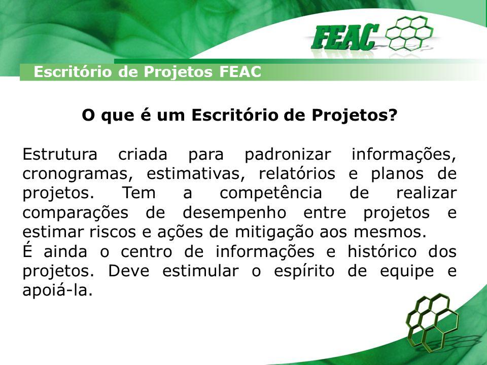 Escritório de Projetos FEAC O que é um Escritório de Projetos? Estrutura criada para padronizar informações, cronogramas, estimativas, relatórios e pl