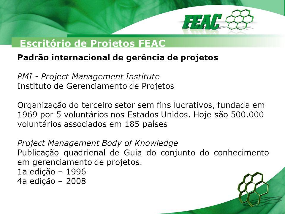 Escritório de Projetos FEAC (5) Grupos de Processos Compostos por 42 processos com entradas, técnicas e ferramentas e saídas.