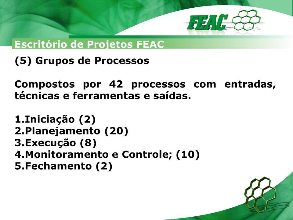 Escritório de Projetos FEAC Distribuídos em 9 áreas do conhecimento: 1.Integração; 2.Escopo; 3.Tempo; 4.Custos; 5.Qualidade; 6.RH; 7.Comunicação; 8.Riscos; 9.Aquisições.