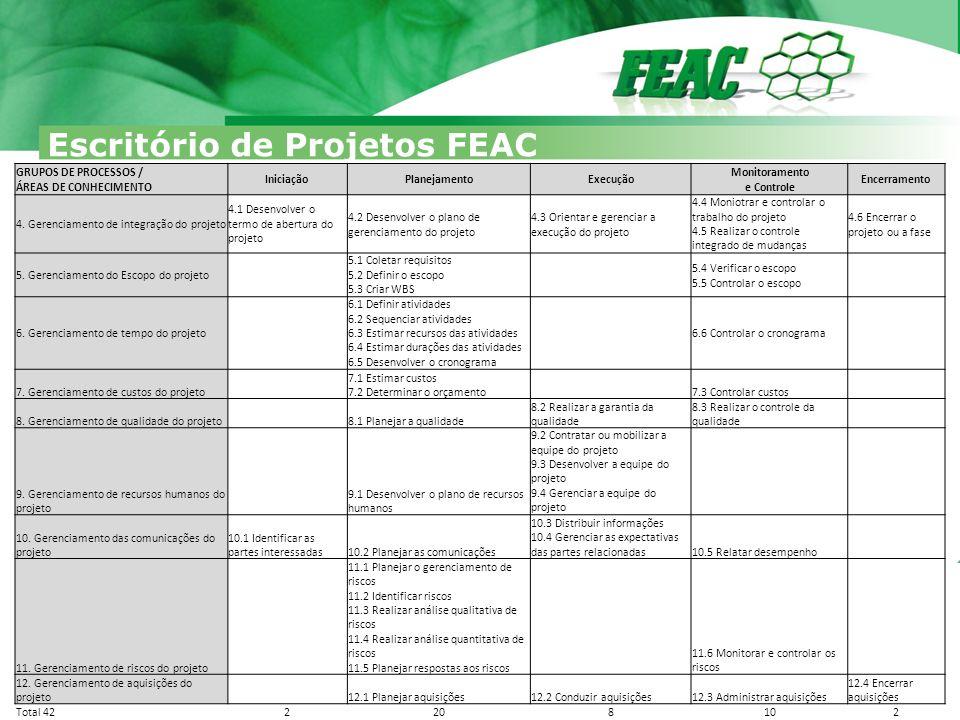 Escritório de Projetos FEAC Iniciação 4.1 Project Charter (termo de abertura do projeto) 1.Propósito/justificativa 2.Objetivos e critérios de sucesso 3.Entregas 4.Não Entregas 5.Requisitos 6.Descrição 7.Riscos 8.Marcos 9.Orçamento 10.