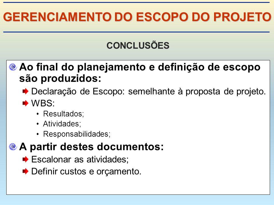 Ao final do planejamento e definição de escopo são produzidos: Declaração de Escopo: semelhante à proposta de projeto.