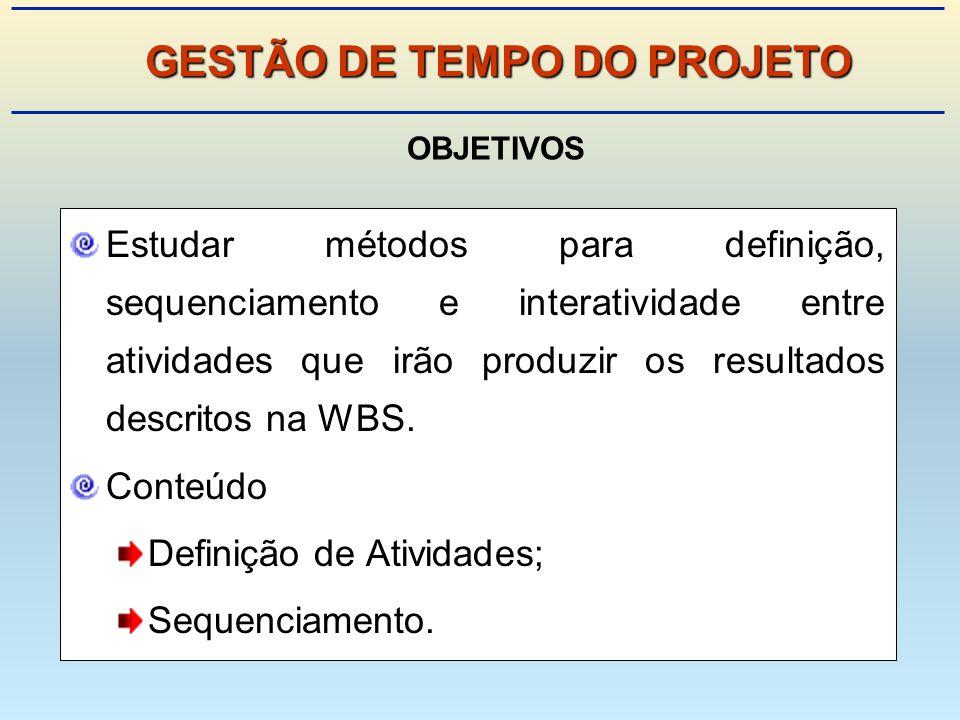 Estudar métodos para definição, sequenciamento e interatividade entre atividades que irão produzir os resultados descritos na WBS.