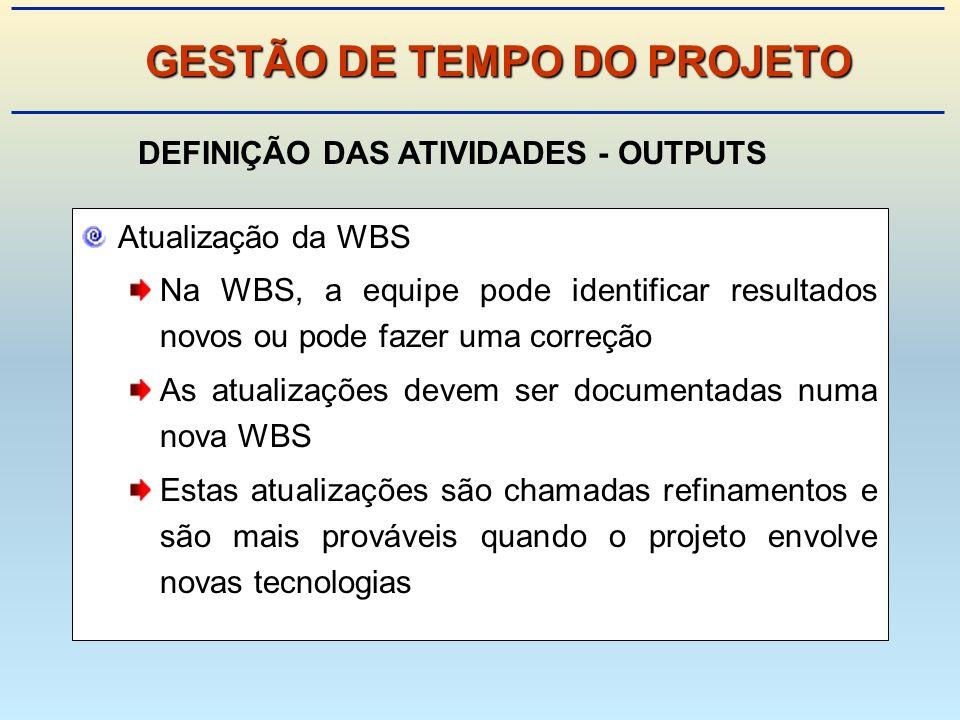 Atualização da WBS Na WBS, a equipe pode identificar resultados novos ou pode fazer uma correção As atualizações devem ser documentadas numa nova WBS Estas atualizações são chamadas refinamentos e são mais prováveis quando o projeto envolve novas tecnologias GESTÃO DE TEMPO DO PROJETO DEFINIÇÃO DAS ATIVIDADES - OUTPUTS
