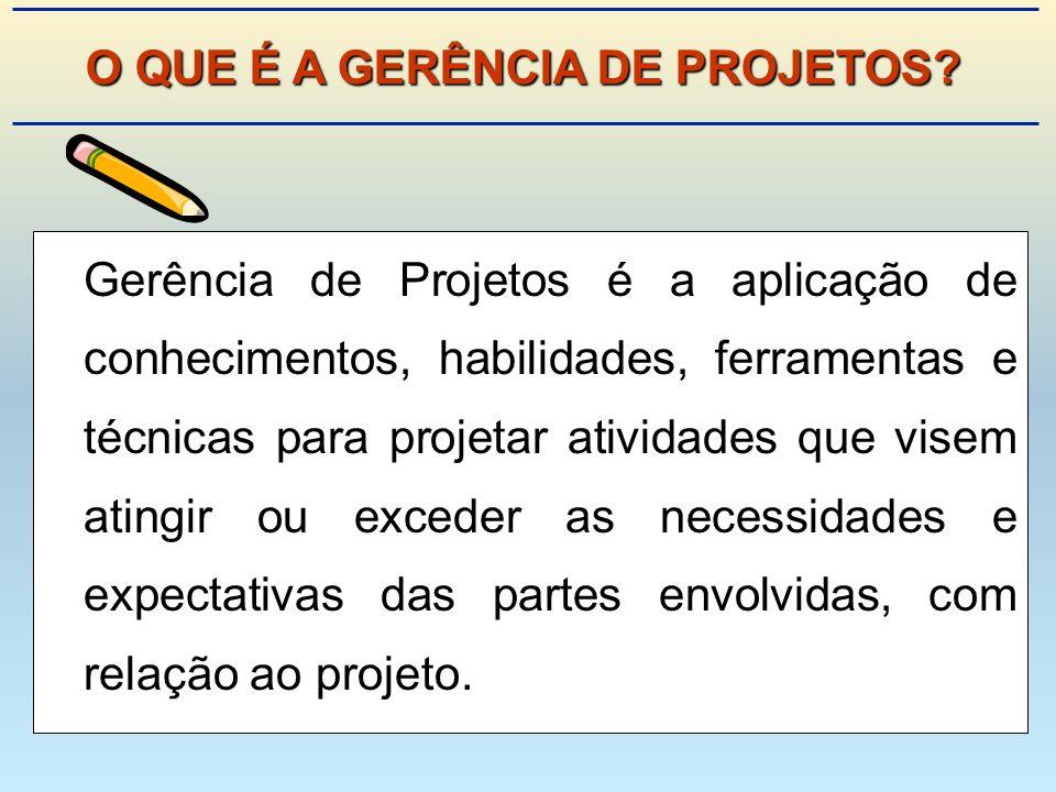Gerência de Projetos é a aplicação de conhecimentos, habilidades, ferramentas e técnicas para projetar atividades que visem atingir ou exceder as necessidades e expectativas das partes envolvidas, com relação ao projeto.