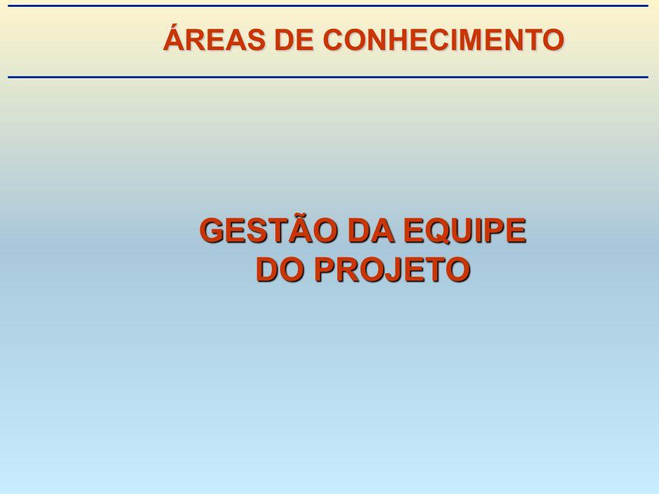 GESTÃO DA EQUIPE DO PROJETO ÁREAS DE CONHECIMENTO