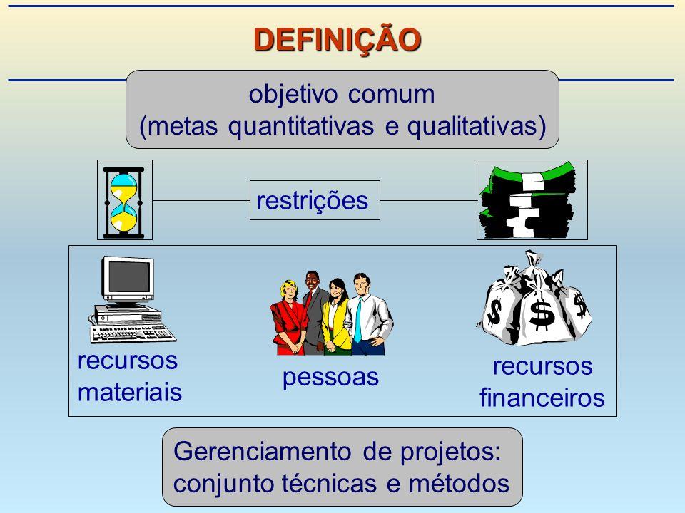 Gerenciamento de projetos: conjunto técnicas e métodos recursos financeiros recursos materiais objetivo comum (metas quantitativas e qualitativas) pessoas restrições DEFINIÇÃO