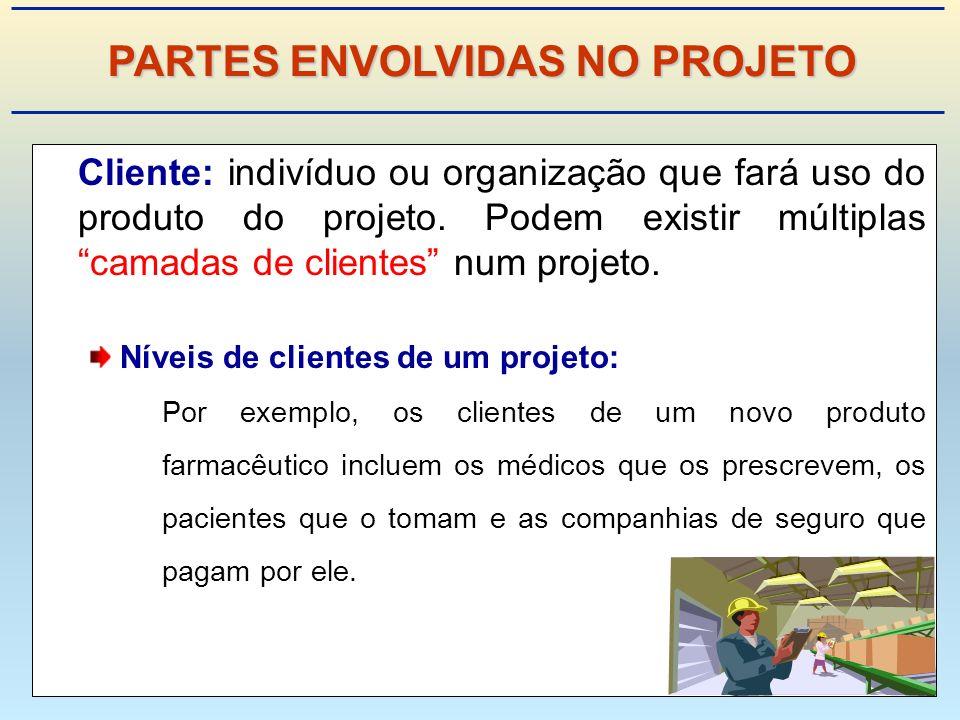 Cliente: indivíduo ou organização que fará uso do produto do projeto.