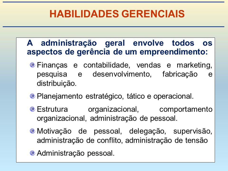 A administração geral envolve todos os aspectos de gerência de um empreendimento: Finanças e contabilidade, vendas e marketing, pesquisa e desenvolvimento, fabricação e distribuição.