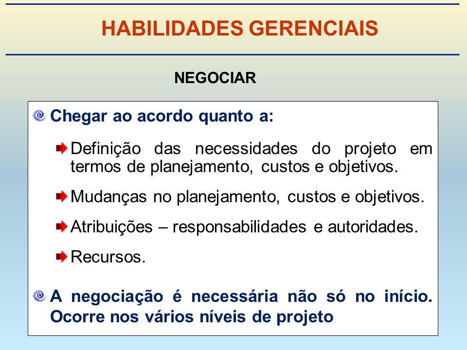 Chegar ao acordo quanto a: Definição das necessidades do projeto em termos de planejamento, custos e objetivos.