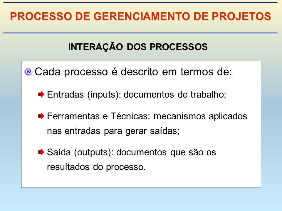 Cada processo é descrito em termos de: Entradas (inputs): documentos de trabalho; Ferramentas e Técnicas: mecanismos aplicados nas entradas para gerar saídas; Saída (outputs): documentos que são os resultados do processo.