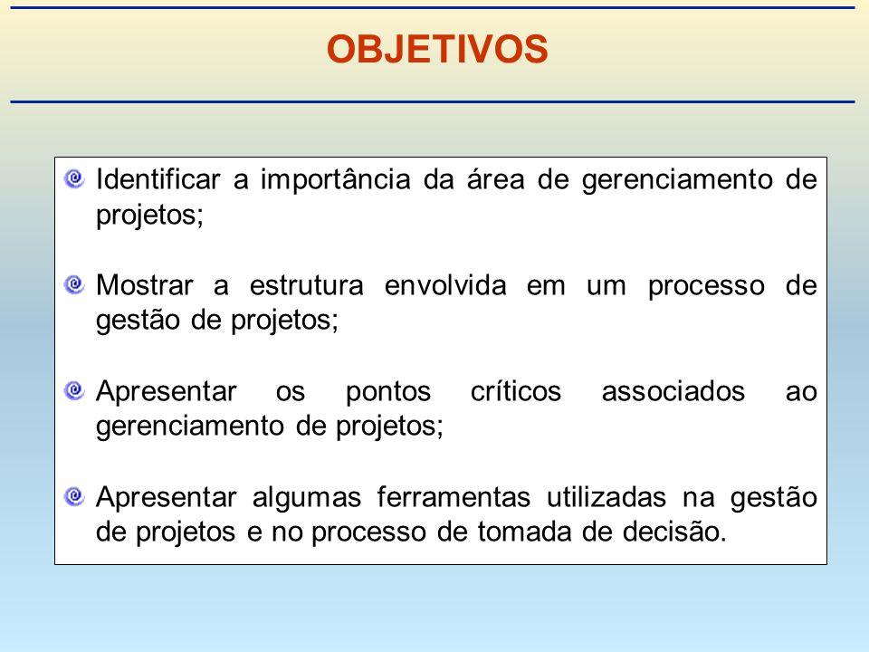 Identificar a importância da área de gerenciamento de projetos; Mostrar a estrutura envolvida em um processo de gestão de projetos; Apresentar os pontos críticos associados ao gerenciamento de projetos; Apresentar algumas ferramentas utilizadas na gestão de projetos e no processo de tomada de decisão.