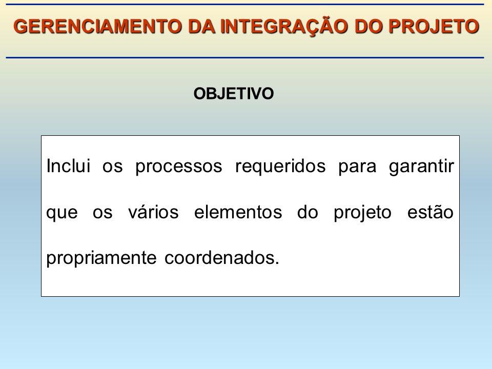 Inclui os processos requeridos para garantir que os vários elementos do projeto estão propriamente coordenados.