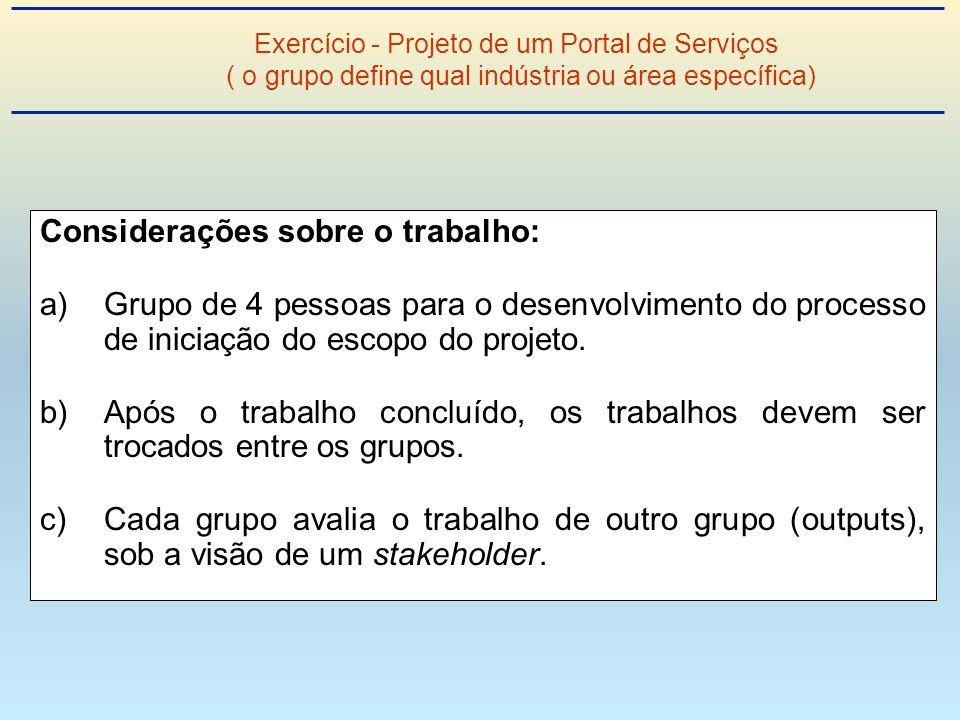 Considerações sobre o trabalho: a)Grupo de 4 pessoas para o desenvolvimento do processo de iniciação do escopo do projeto.