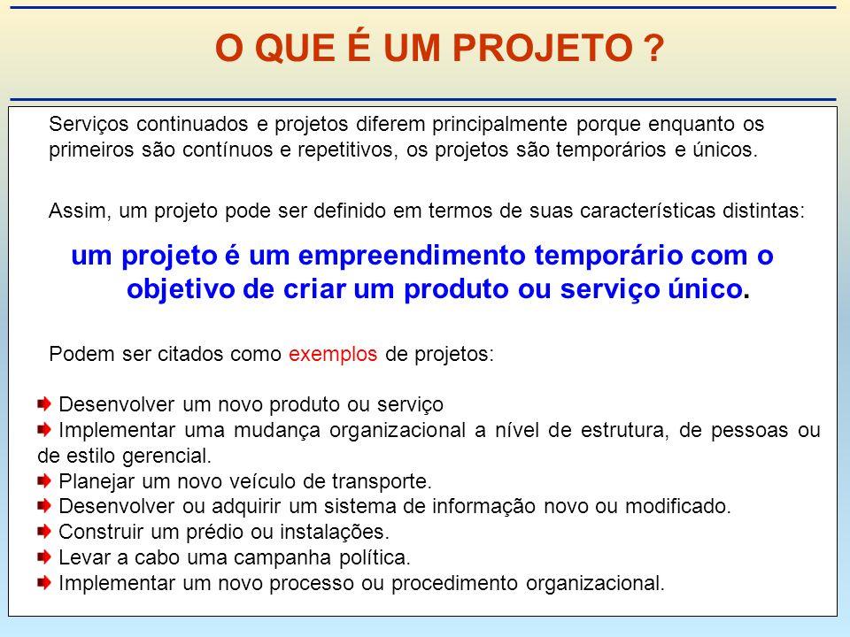 Serviços continuados e projetos diferem principalmente porque enquanto os primeiros são contínuos e repetitivos, os projetos são temporários e únicos.