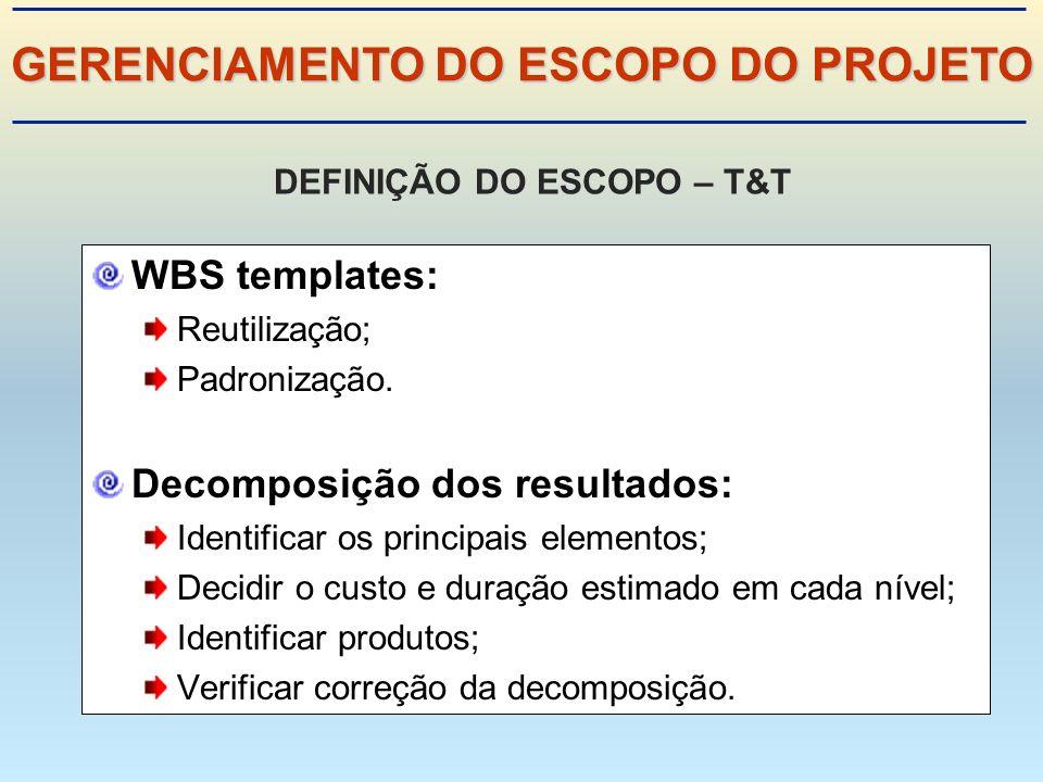 WBS templates: Reutilização; Padronização.