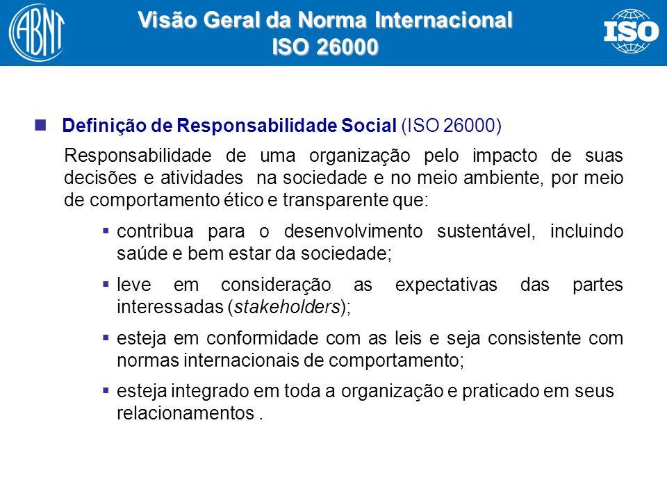 14 Visão Geral da Norma Internacional ISO 26000 Definição de Responsabilidade Social (ISO 26000) Responsabilidade de uma organização pelo impacto de s