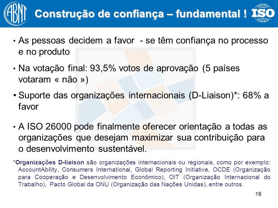 16 As pessoas decidem a favor - se têm confiança no processo e no produto Na votação final: 93,5% votos de aprovação (5 países votaram « não ») Suport