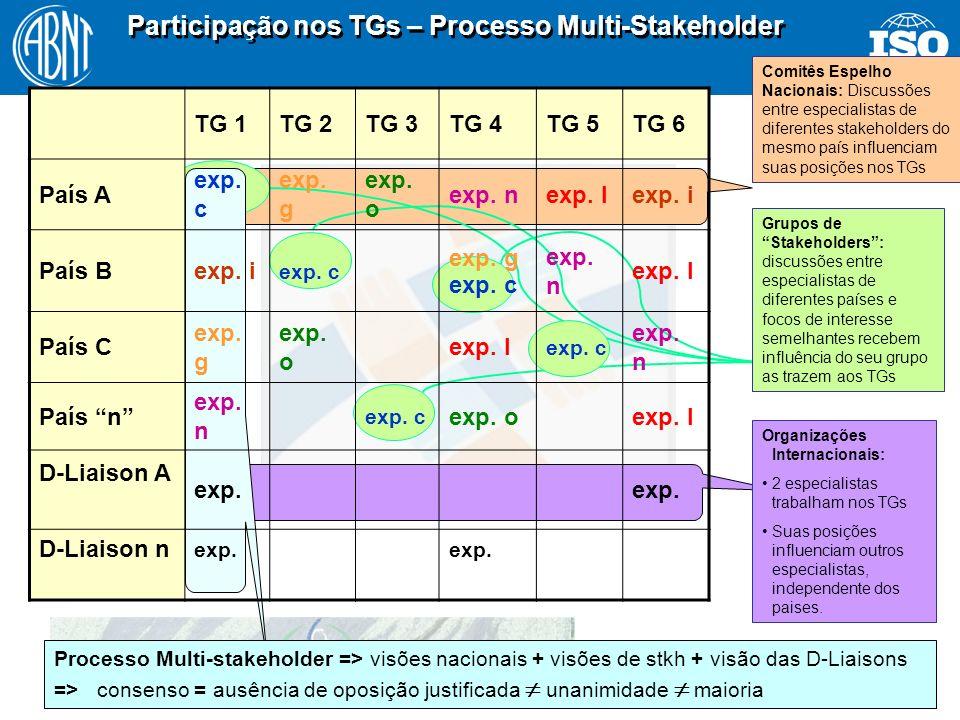 17 Participação nos TGs – Processo Multi-Stakeholder Comitês Espelho Nacionais: Discussões entre especialistas de diferentes stakeholders do mesmo paí