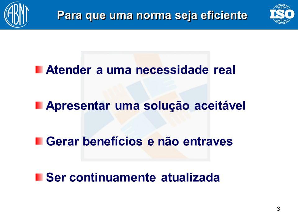 3 Atender a uma necessidade real Apresentar uma solução aceitável Gerar benefícios e não entraves Ser continuamente atualizada Para que uma norma seja