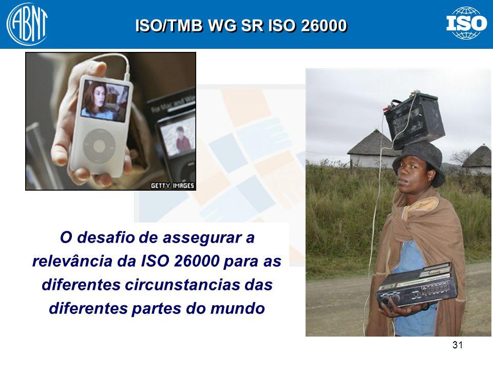 31 O desafio de assegurar a relevância da ISO 26000 para as diferentes circunstancias das diferentes partes do mundo ISO/TMB WG SR ISO 26000