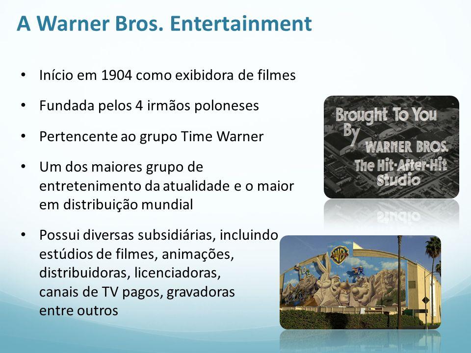 A Warner Bros. Entertainment Início em 1904 como exibidora de filmes Fundada pelos 4 irmãos poloneses Pertencente ao grupo Time Warner Um dos maiores