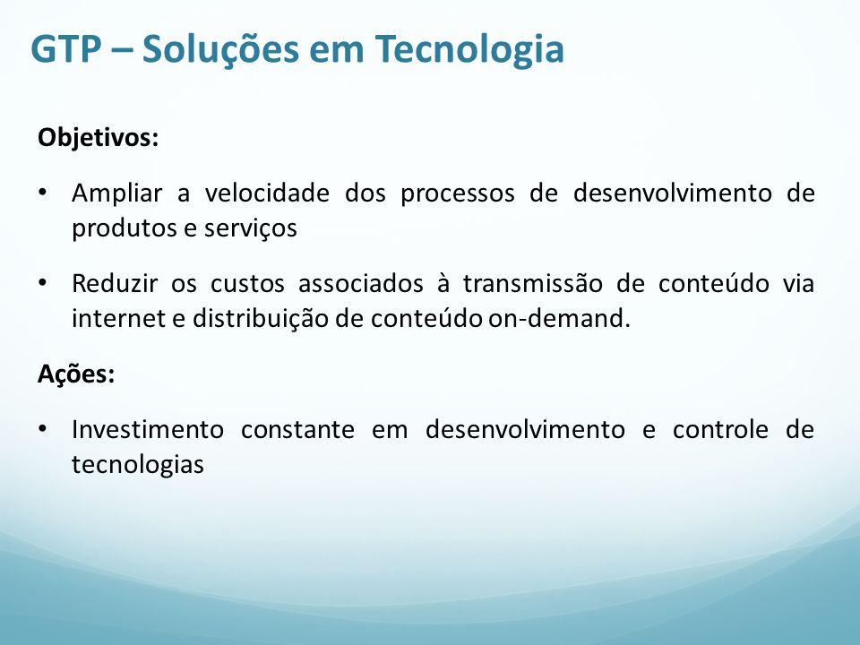 GTP – Soluções em Tecnologia Objetivos: Ampliar a velocidade dos processos de desenvolvimento de produtos e serviços Reduzir os custos associados à tr