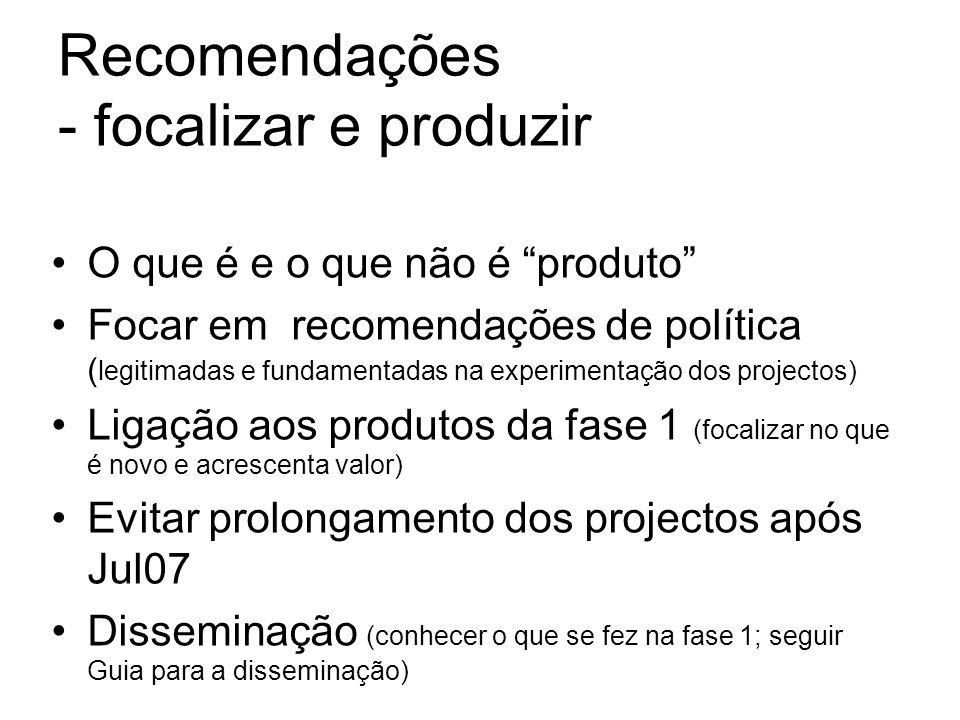 Recomendações - focalizar e produzir O que é e o que não é produto Focar em recomendações de política ( legitimadas e fundamentadas na experimentação dos projectos) Ligação aos produtos da fase 1 (focalizar no que é novo e acrescenta valor) Evitar prolongamento dos projectos após Jul07 Disseminação (conhecer o que se fez na fase 1; seguir Guia para a disseminação)