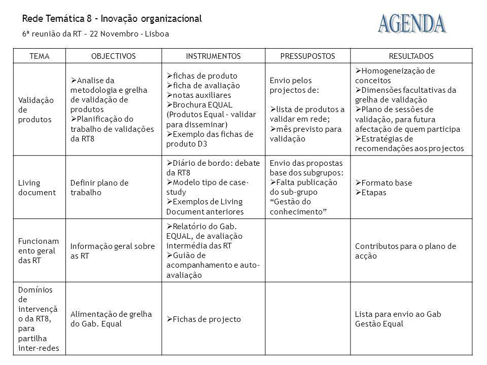 Rede Temática 8 – Inovação organizacional 6ª reunião da RT – 22 Novembro – Lisboa TEMAOBJECTIVOSINSTRUMENTOSPRESSUPOSTOSRESULTADOS Validação de produt