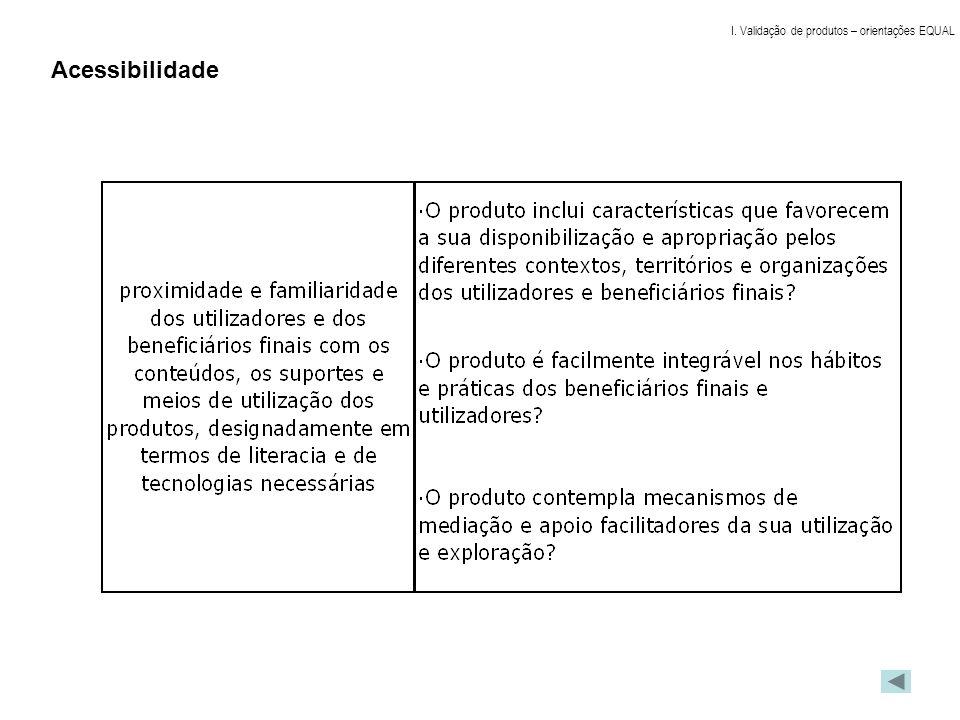 Acessibilidade I. Validação de produtos – orientações EQUAL