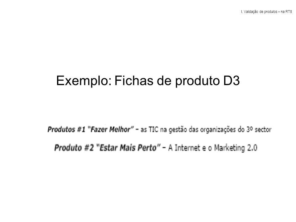 Exemplo: Fichas de produto D3 I. Validação de produtos – na RT8