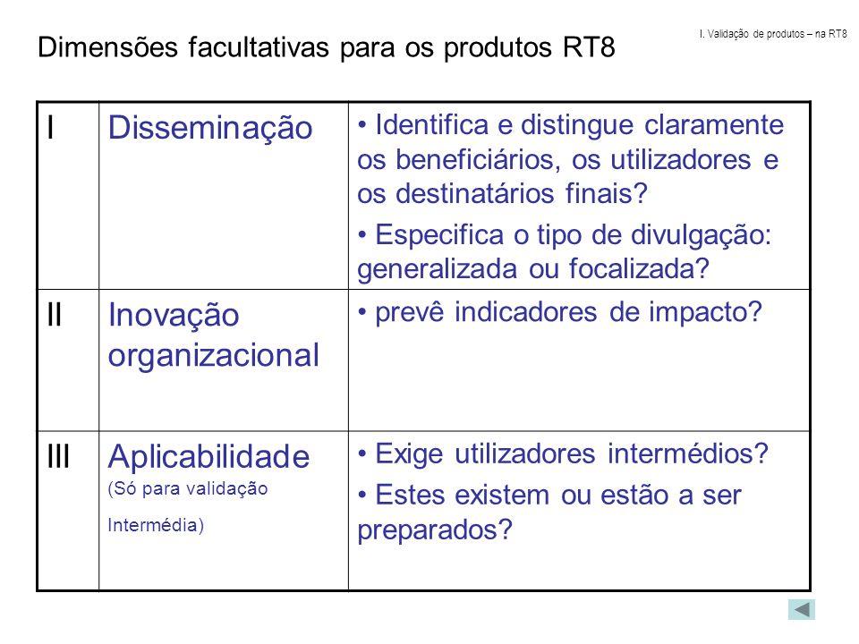 Dimensões facultativas para os produtos RT8 IDisseminação Identifica e distingue claramente os beneficiários, os utilizadores e os destinatários finai