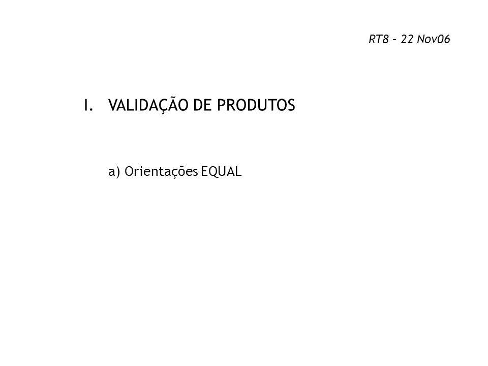 I.VALIDAÇÃO DE PRODUTOS a) Orientações EQUAL RT8 – 22 Nov06