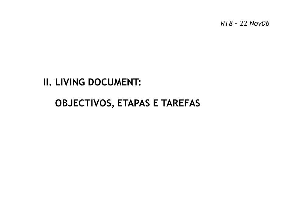 II. LIVING DOCUMENT: OBJECTIVOS, ETAPAS E TAREFAS RT8 – 22 Nov06