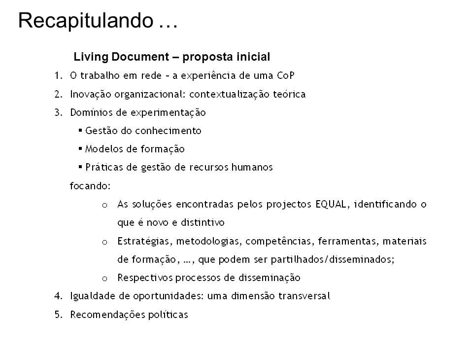 Living Document – proposta inicial Recapitulando …