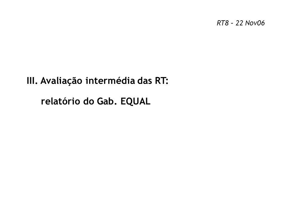 III. Avaliação intermédia das RT: relatório do Gab. EQUAL RT8 – 22 Nov06